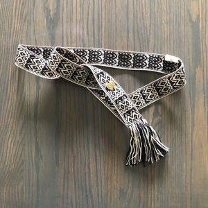 Billabong Accessories - Billabong Aztec Black & White Fringe Tie Belt